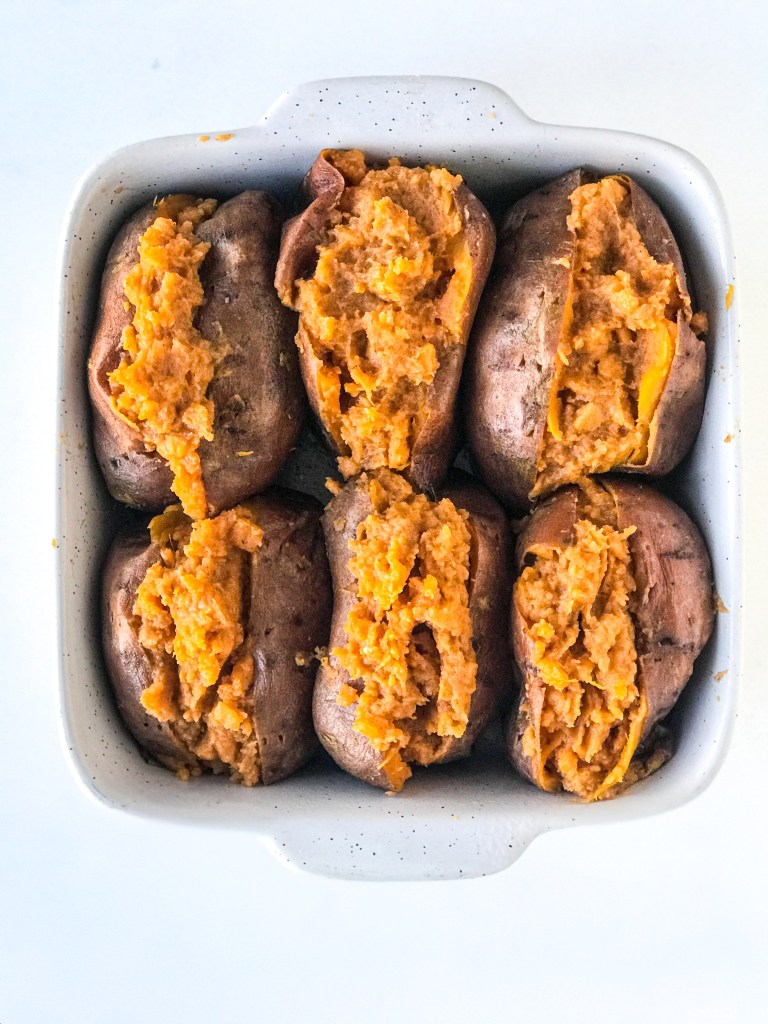 Twice Baked Holiday Spice Sweet Potato Casserole