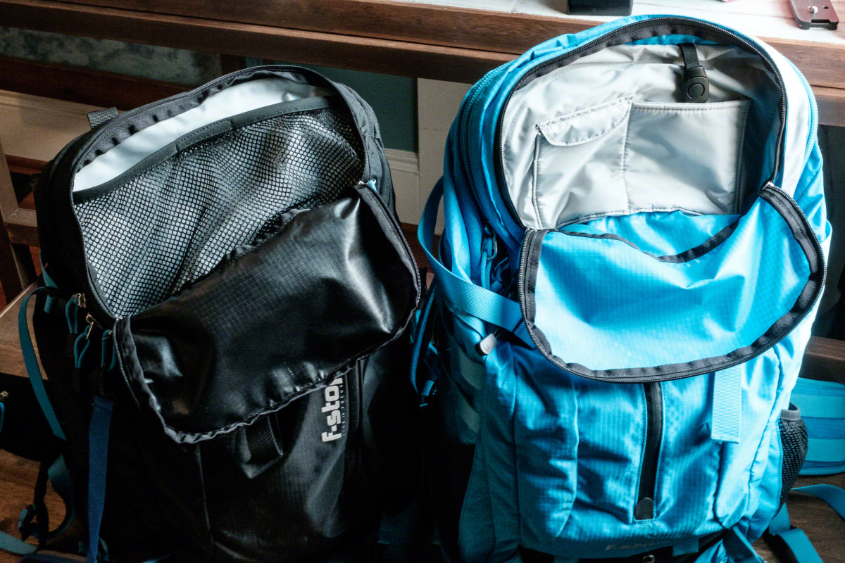 The Kashmir (left) has a mesh top with one piece of velcro to close it, and the Loka (right) has small pockets to hold memory cards, business cards, etc.