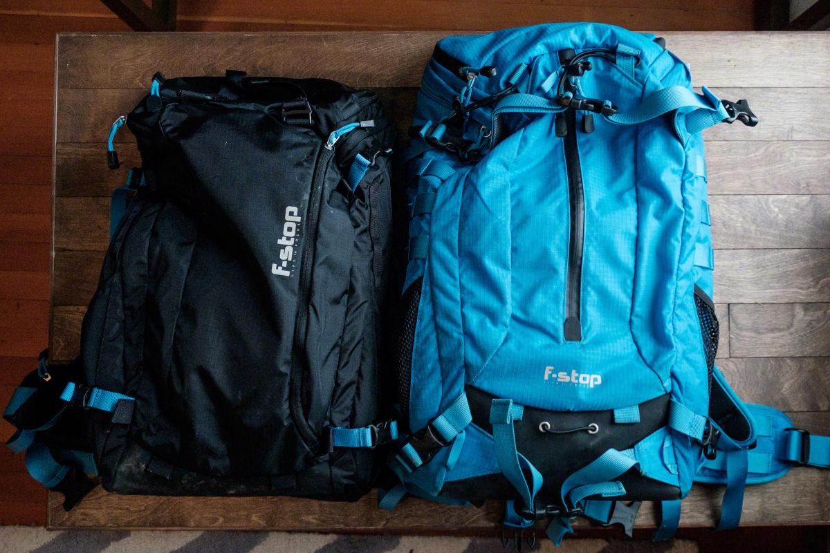 This is a top view of both bags (Kashmir on the left, Loka on the right). Each of them has a zippered pocket on the back of the bag. I use this pocket to hold rain covers and other small accessories (hats, gloves, etc.).