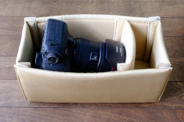 Canon 5D Mark III with Canon 24-70mm lens (attached, set vertically)