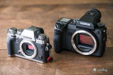 The Fujifilm GFX 50S alongside the Fujifilm X-T1