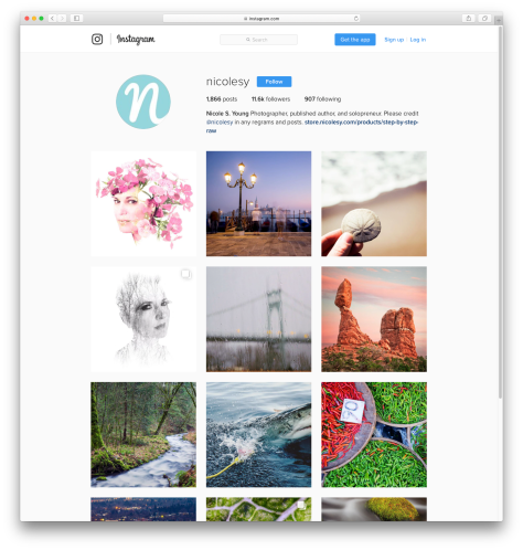 Instagram is one of many photo sites that displays photos in a thumbnail grid (https://instagram.com/nicolesy)