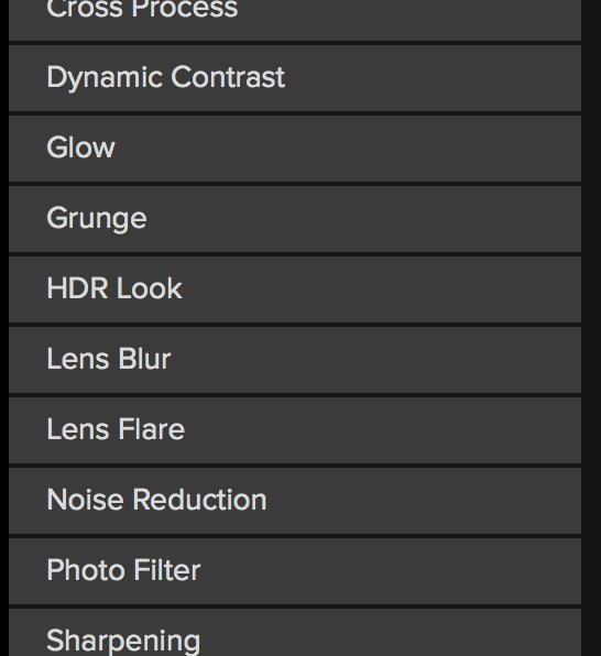 The filter selection in ON1 Photo RAW 2018. (Click to view larger)