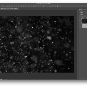 Step 3: Resize the snow overlay so that it fits the entire canvas size, and click on the check at the top (or press the RETURN/ENTER key to commit the change)