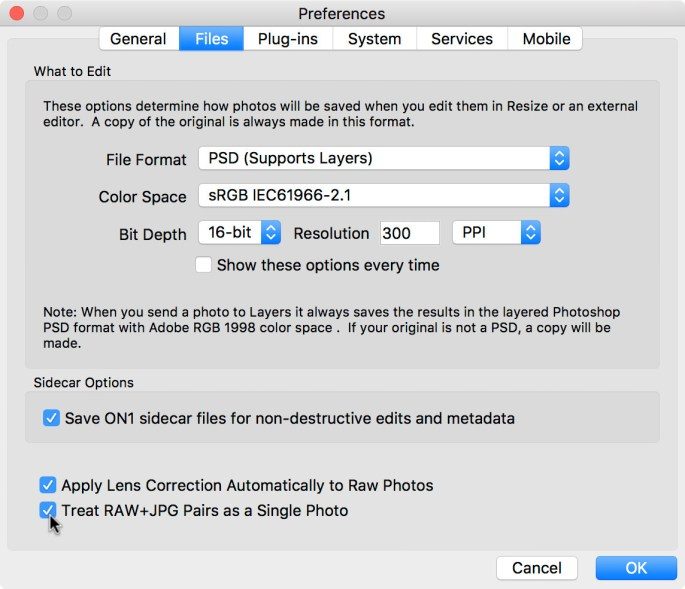 The RAW+JPEG setting can be accessed in the Preferences window ...