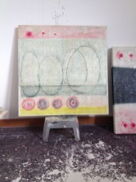 'This is not a lovesong' encaustic work in the studio, almost finiished