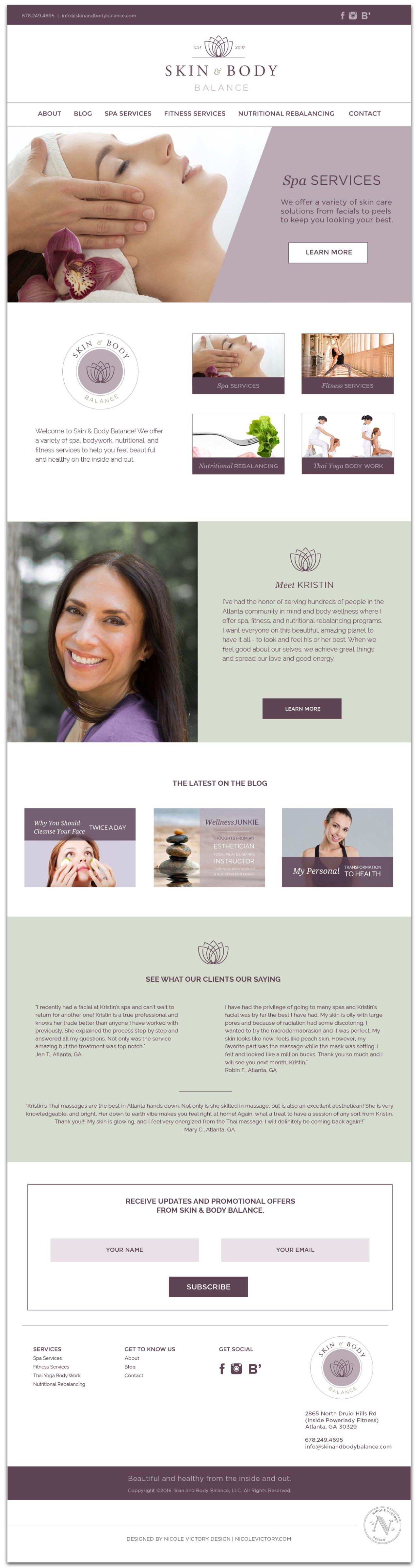 Skin and Body Balance Website Design | Nicole Victory Design