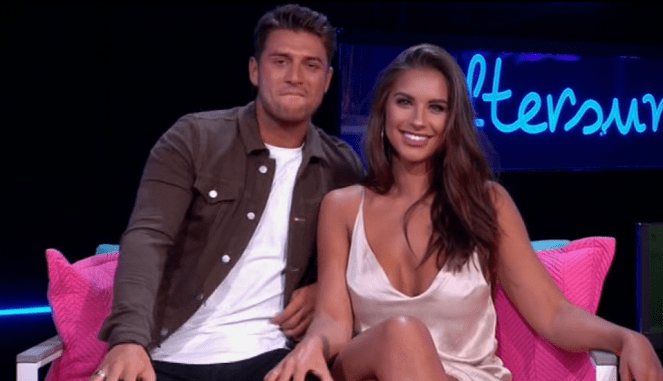 Love Island Jessica Shear Has Her Hand All Over Mike's Leg During TV Appearance Then Moves It When Camera Is On Her!