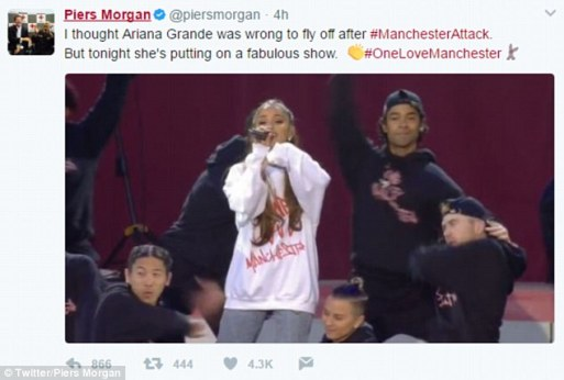 Piers Morgan Admits He Was Wrong For Judging Ariana Grande In New Tweet