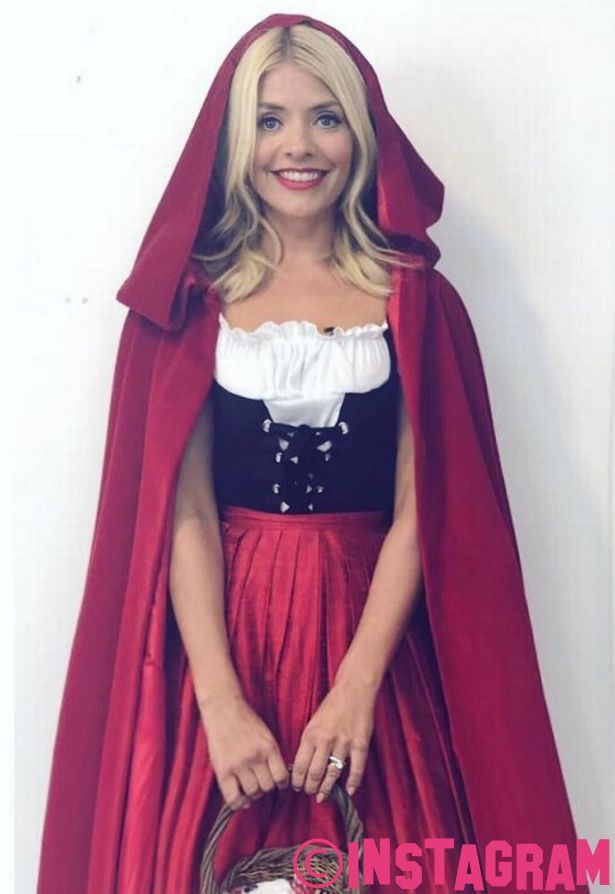 Holly Willoughby Dresses As Little Red Riding Hood During Celebrity Juice Christmas Special Filming
