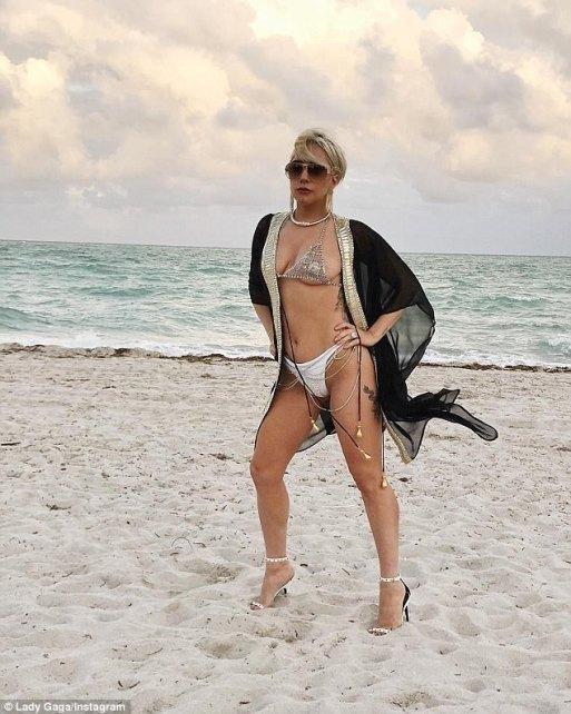 Lady Gaga Looks Fantastic As She Poses On Beach In Miami In Bikini