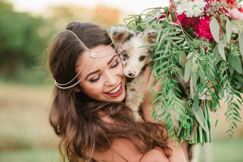 austin bride with puppy, bridal jewelry, dogs in weddings, bridal bouquet, pink and green wedding