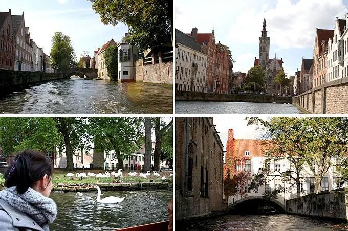 Die wunderschöne Altstadt von Brügge vom Boot aus. - Flandern Rundfahrt