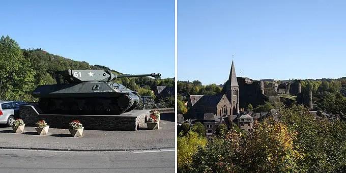 Panzerdenkmal auf einer öffentlichen Straße im Belgien Urlaub