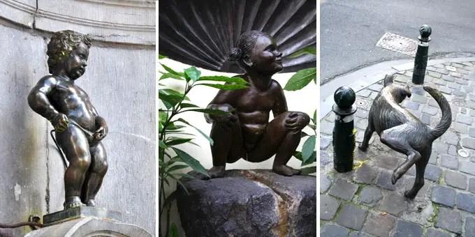 Manneken Pis und weitere Figuren in Brüssel - Flandern Rundfahrt