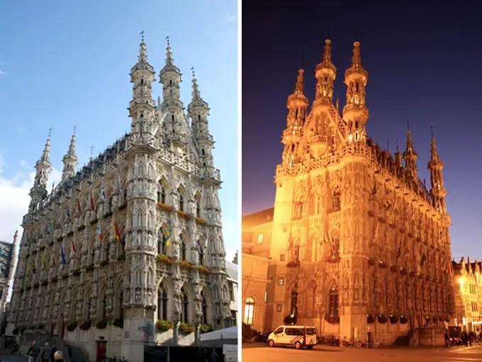 Rathaus in Leuven bei Tag und bei Nacht - Flandern Rundfahrt