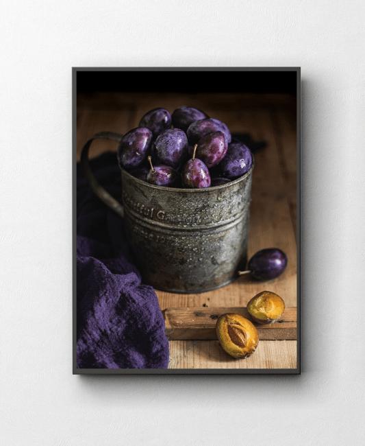Śliwki fotografia kulinarna obraz zdjęcie na ścianę