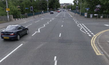 4 lanes of heavy traffic