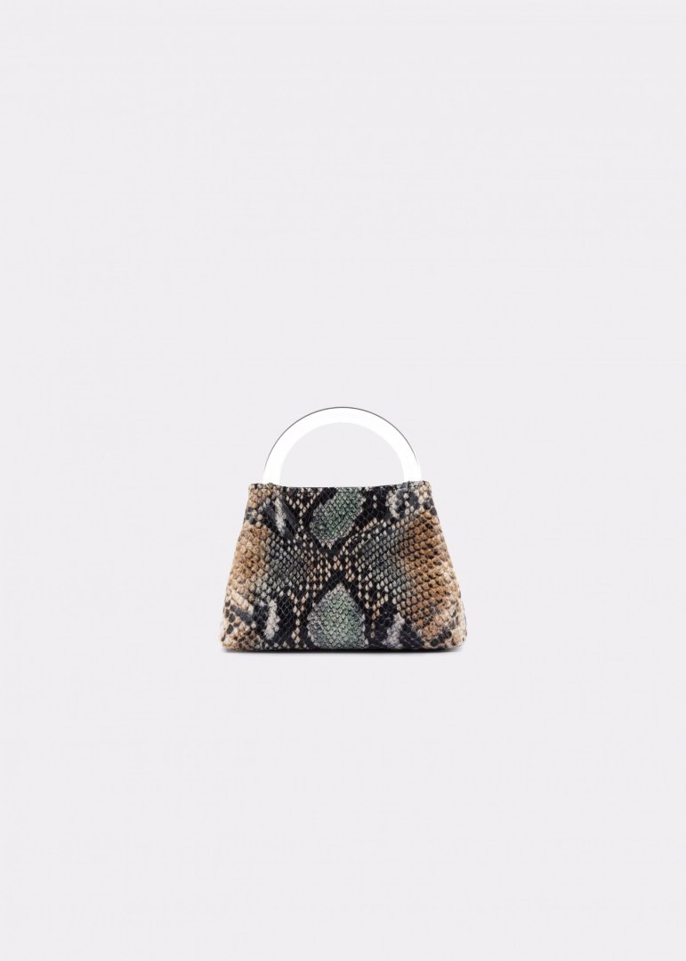 NIDO Bolla Micro bag phyton print leather Plexy_front view