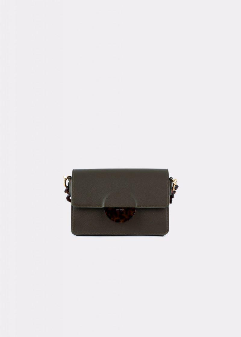 NIDO Cuore Mini bag Olive Saffiano front view