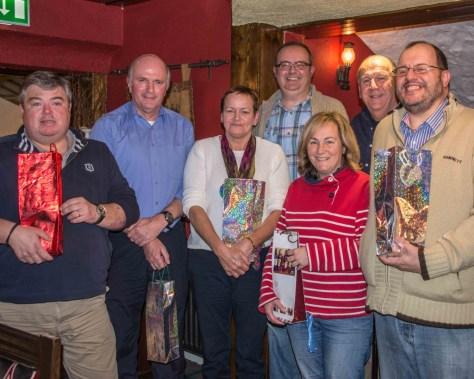 The Winning Team: Neville Brown; Geoff Moore; Alison Mastin Moore; Stephen Hewitt; Maureen Brown; John McKee (quiz master); Ivor Harper
