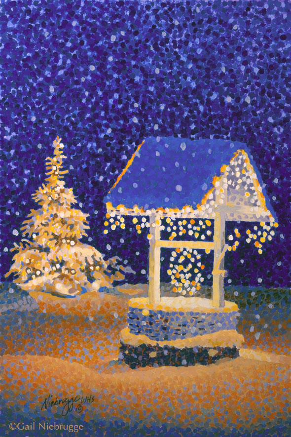 Christmas Note Card Wishing Well By Gail Niebrugge