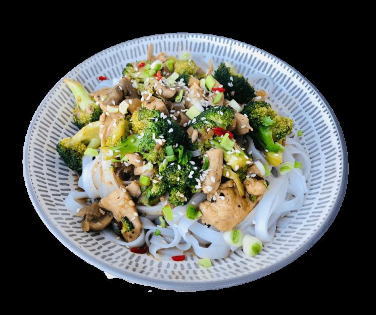 stir fry z kurczakiem i brokułem