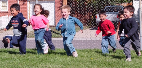Preschool Children Playing Outside