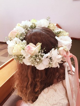 Hochzeit Haarschmuck Kranz aus Rosen mit Schleife