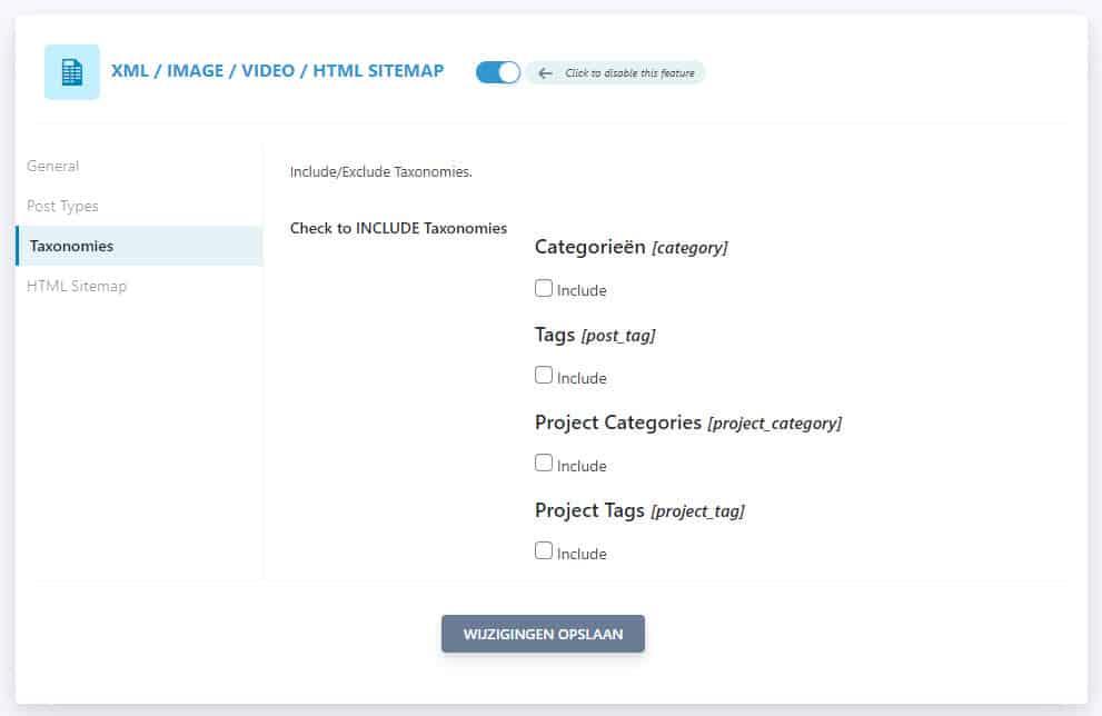 Seopress Xml Html Sitemap Instellingen Taxonomies