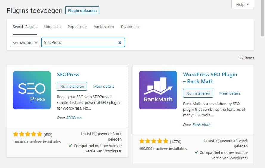 Wordpress Plugin Seopress Installeren