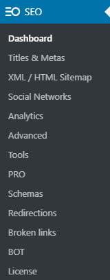 Admin Menu Seopress Pro