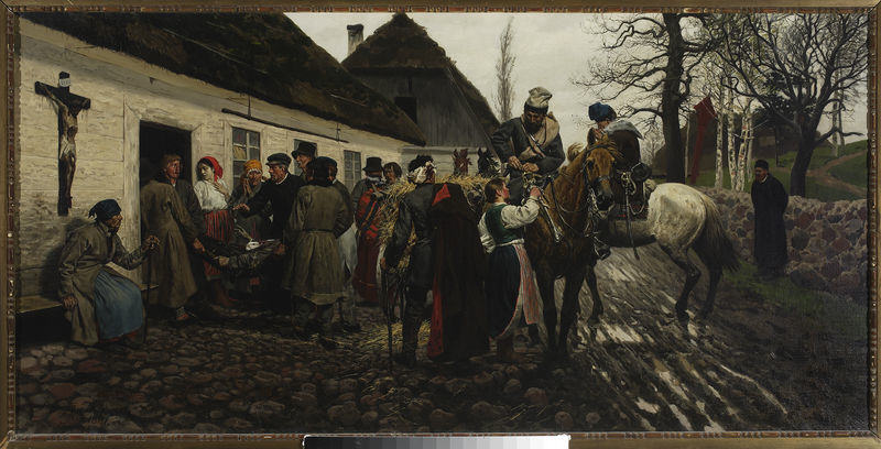 """""""Powstaniec ranny pod szpitalem"""" - obraz S. Witkiewicza, darowany Marii i Henrykowi Sienkiewiczom w prezencie ślubnym w 1881 r."""