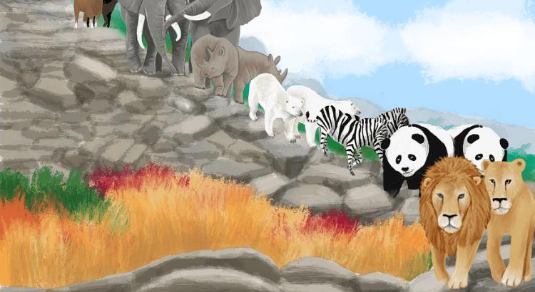 dieren onderweg naar de ark