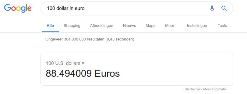 100 dollar naar euro