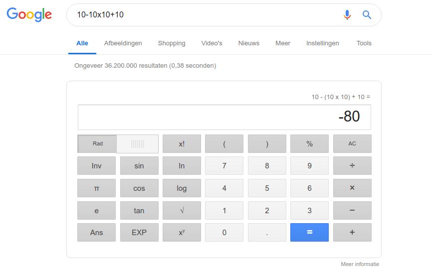 Google rekenmachine