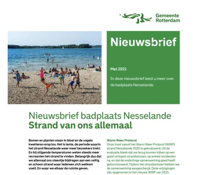 Nieuwsbrief badplaats Nesselande