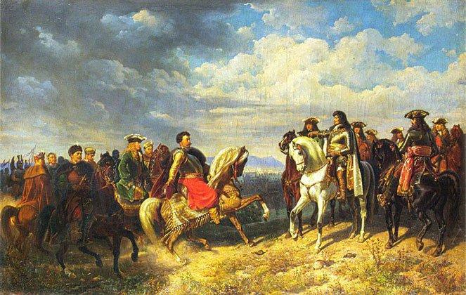 """""""Spotkanie Jana III Sobieskiego z cesarzem Leopoldem I pod Schwechat"""" - reprod. fot. obrazu Artura Grottgera (1837–1867)."""
