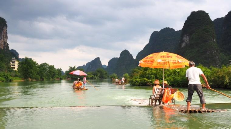 rafting down the Yulong River