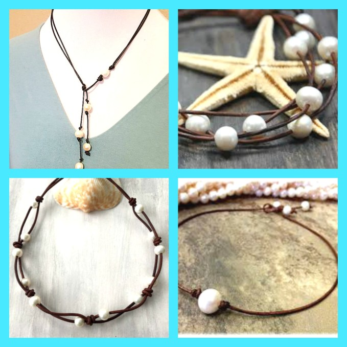 pearls and leather jewelry