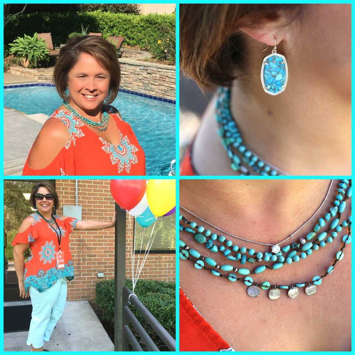 Tomato and Turquoise summer top
