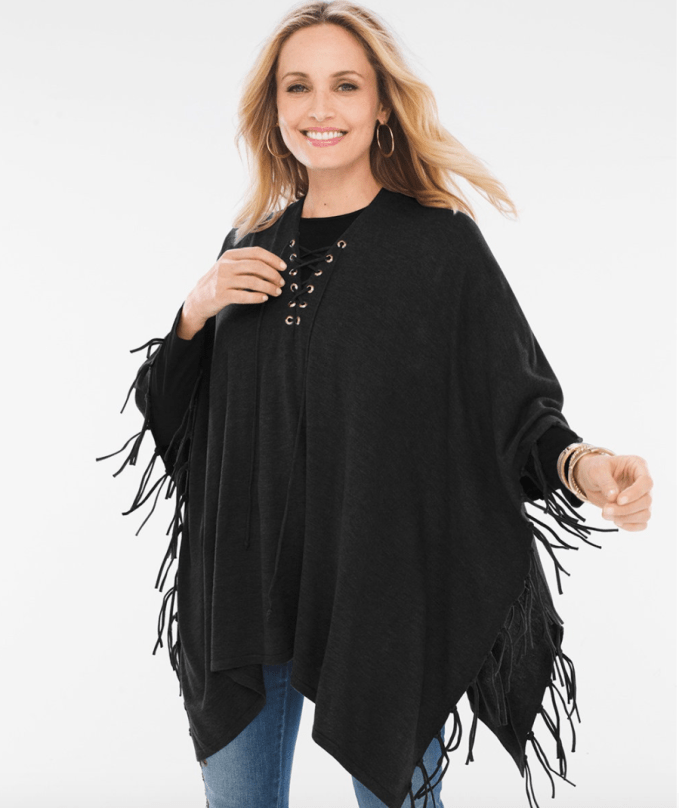 Fringe Lace Up Poncho in Black