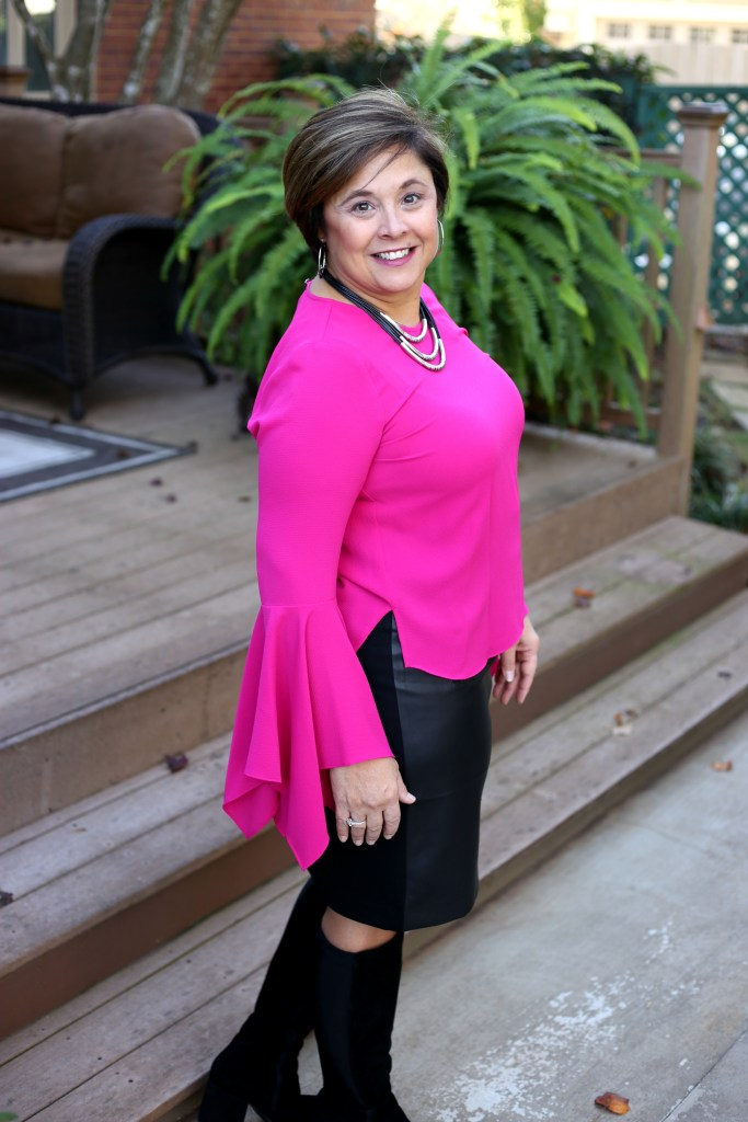 Pink Top With Faux Leather Black Skirt From Chicos