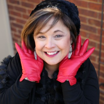 Red Gloves Add Fun To All Black Outfit