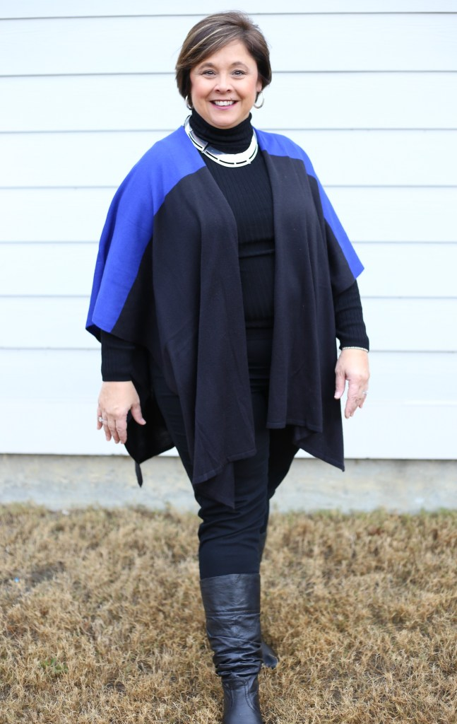 Bright colors such as royal blue help lift spirts in the winter time