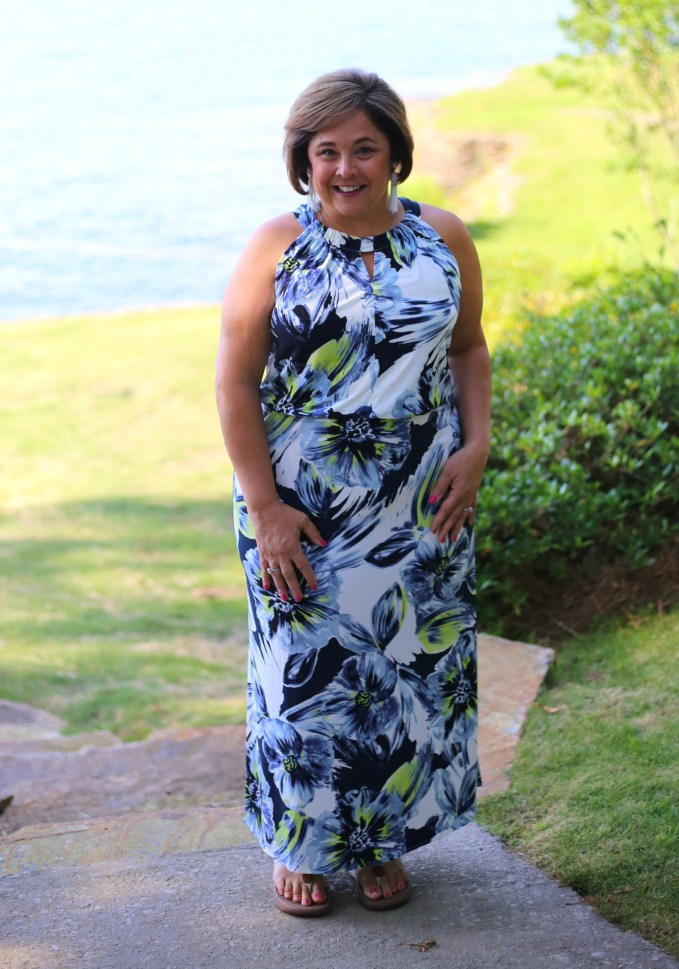 Chico's Floral Maxi Dress with comfortable flats for great look for Poolside Dinner