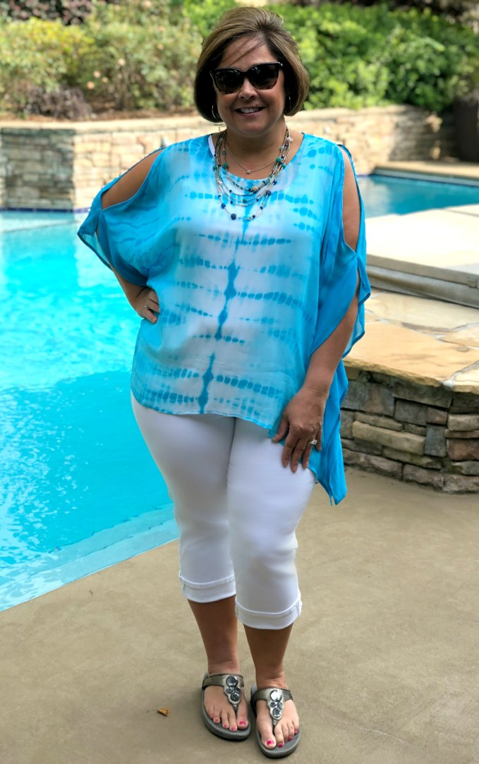 aqua tie dye poncho with white capri pants