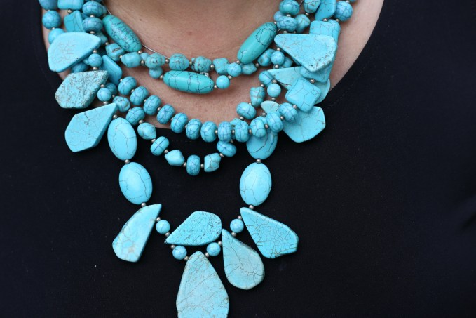 What To Wear For Night At The Theater-Large Statement Necklace in Turquoise
