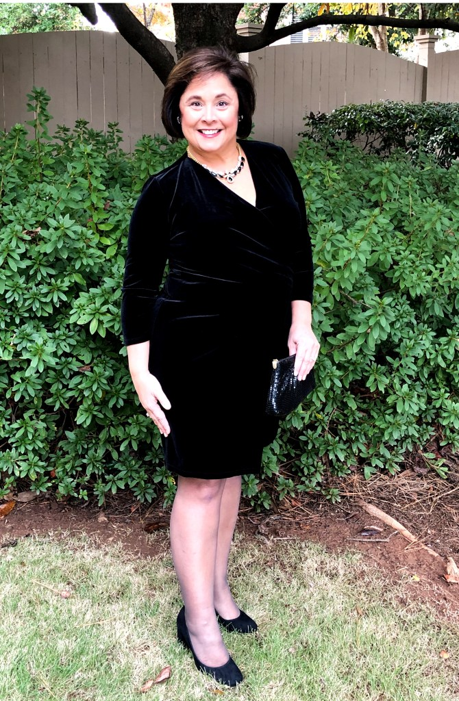 Black Velvet Faux Wrap Dress From Talbots