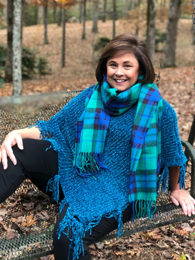 classic plaid scarf with poncho